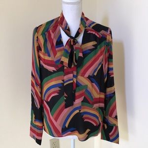 Alice+Olivia large multi tie neck L/S silk blouse